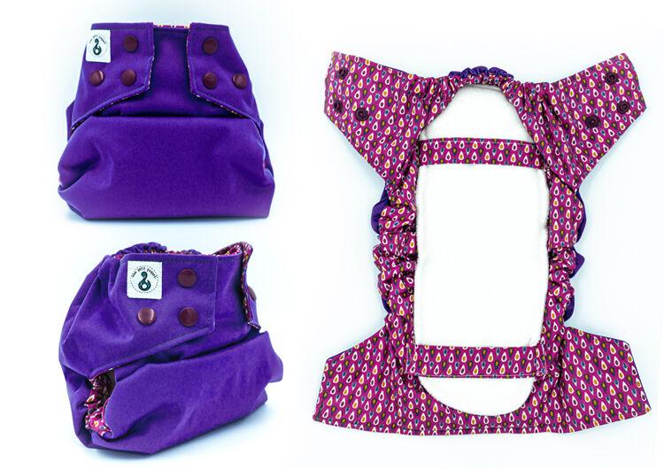 MON PETIT PAQUET Couche lavable TE2 (Tout en 2) - Taille 2 (7-16kg) - Violet Gouttes - MON PETIT PAQUET