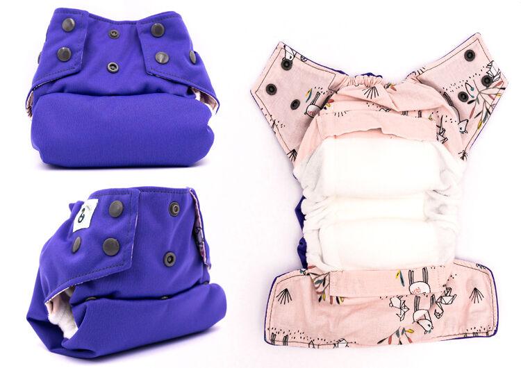 MON PETIT PAQUET Couche lavable TE1 (Tout en 1) - Taille 2 (7-16kg) - Violet Origami - MON PETIT PAQUET