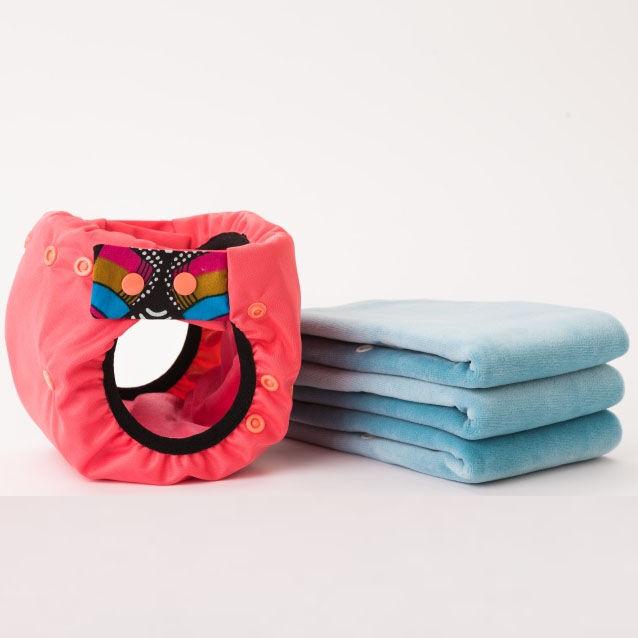 APIAFRIQUE PACK DECOUVERTE Couches lavables TE2 (Tout en 2) - Taille 1 (2.5-5kg) - Rosé Foncé - APIAFRIQUE
