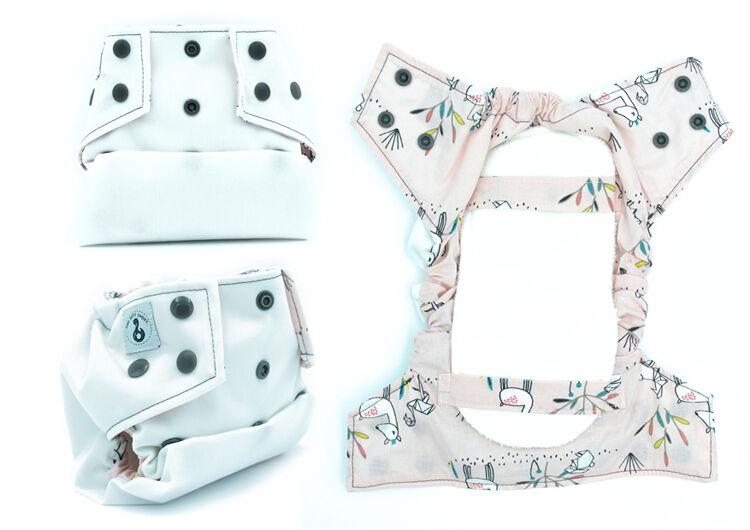 MON PETIT PAQUET Couche lavable TE2 (Tout en 2) - Taille 1 (3-8kg) - Blanc Origami - MON PETIT PAQUET