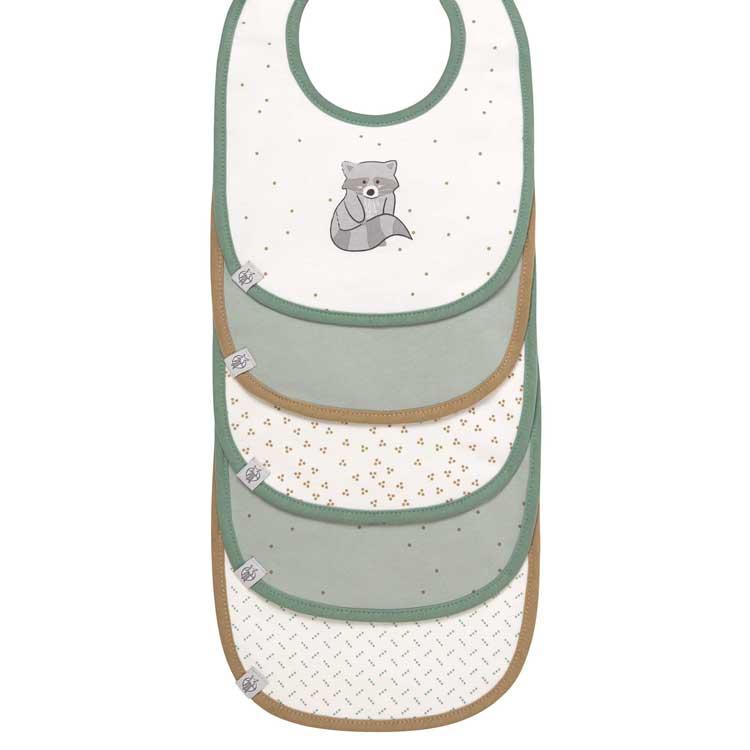 LASSIG Lot de 5 bavoirs en éponge imperméable 3-18 mois Raton laveur - LASSIG