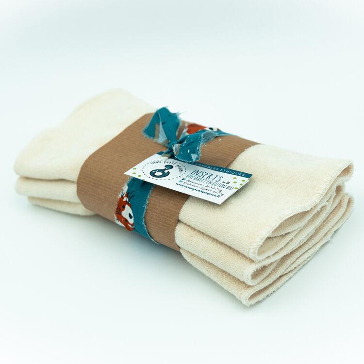 MON PETIT PAQUET Lot de 3 Inserts Taille 1 (3-8kg) - Coton bio - MON PETIT PAQUET