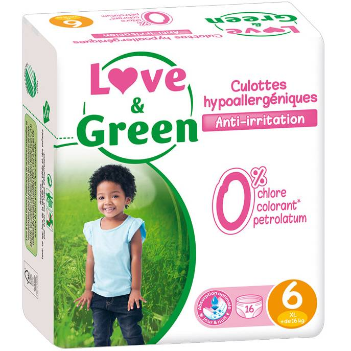 LOVE & GREEN Culottes d'apprentissage jetables écologiques Taille 6 XL +16kg - LOVE & GREEN