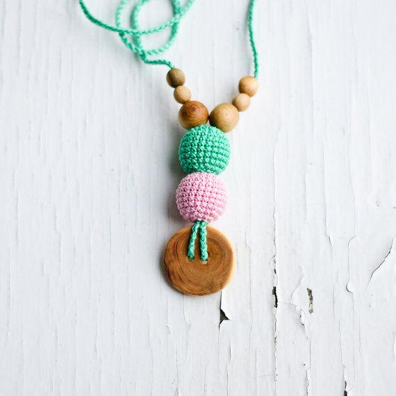 KANGAROO CARE Collier d'allaitement et de portage Mint & Baby pink Genévrier - BN031 - KANGAROO CARE