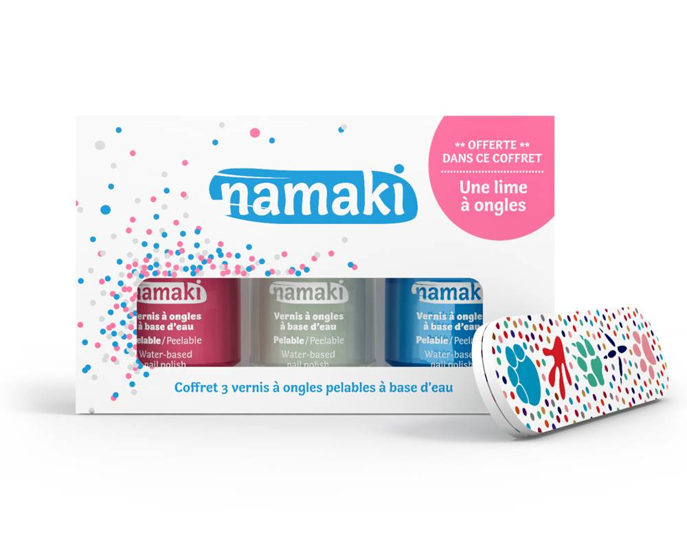 NAMAKI Coffret 3 vernis Rose - Blanc - Bleu Ciel - NAMAKI