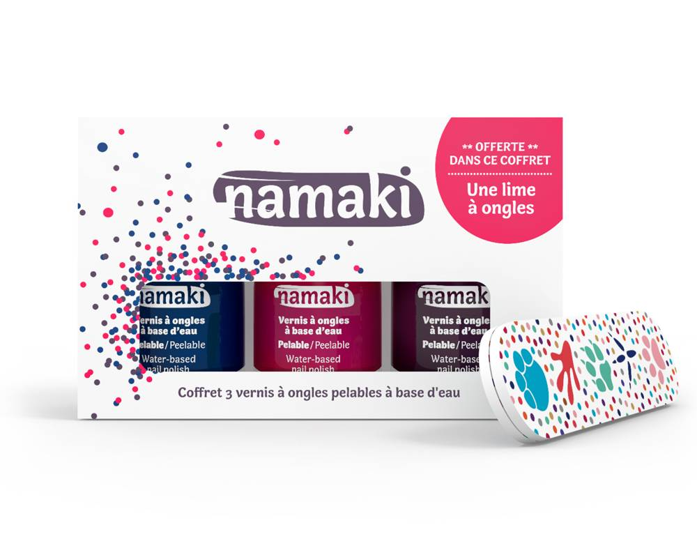 NAMAKI Coffret 3 vernis Bleu Nuit - Griotte - Prune - NAMAKI