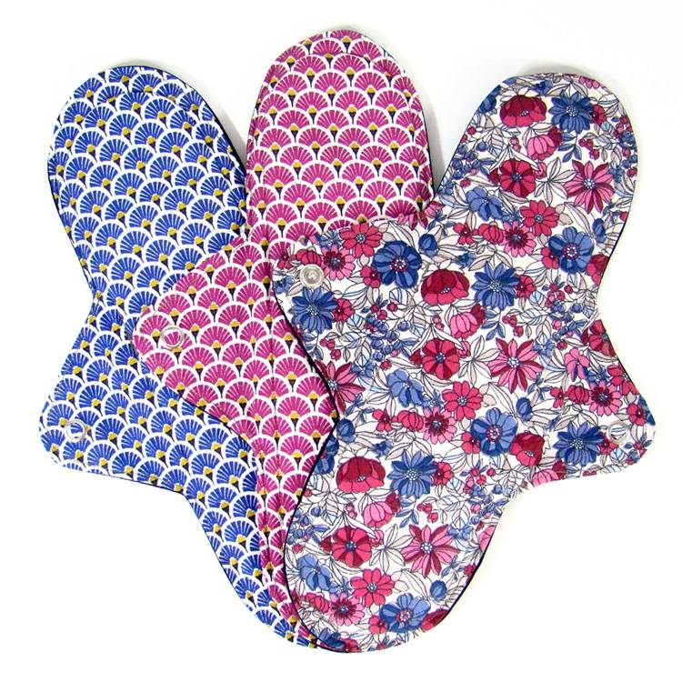 MELO'COTON Lot de 3 serviettes hygiéniques lavables Nuit Fleur rose - MELO'COTON