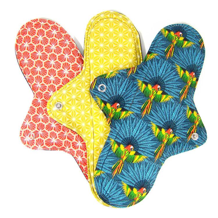 MELO'COTON Lot de 3 serviettes hygiéniques lavables Nuit Perroquet - MELO'COTON