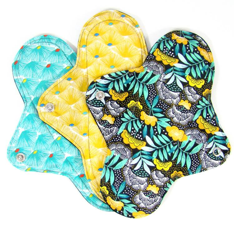 MELO'COTON Lot de 3 serviettes hygiéniques lavables flux abondants Eventail - MELO'COTON