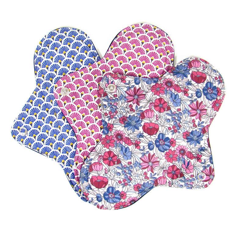 MELO'COTON Lot de 3 serviettes hygiéniques lavables flux abondants Fleur rose - MELO'COTON
