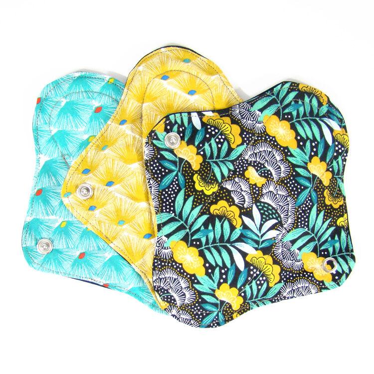 MELO'COTON Lot de 3 serviettes hygiéniques lavables flux réguliers Eventail - MELO'COTON