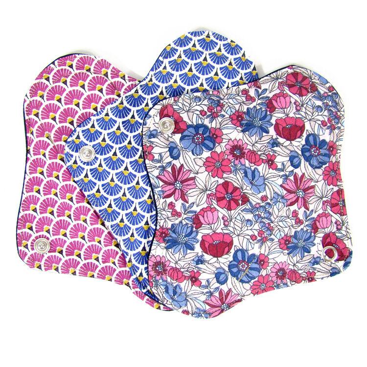 MELO'COTON Lot de 3 serviettes hygiéniques lavables flux réguliers Fleur rose - MELO'COTON