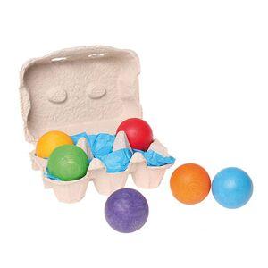 GRIMM'S 6 Balles en bois multicolores - GRIMM'S