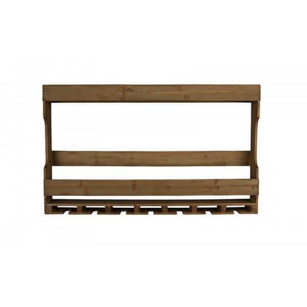 Dutchbone TRES - Etagere Bouteilles et verres en bois et acier Marron