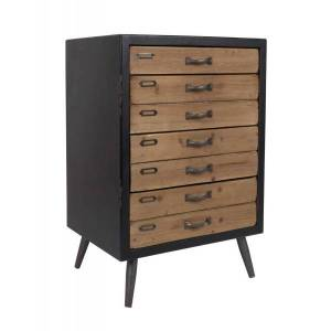 Dutchbone SOL - Rangement tiroirs en bois et acier Marron - Publicité