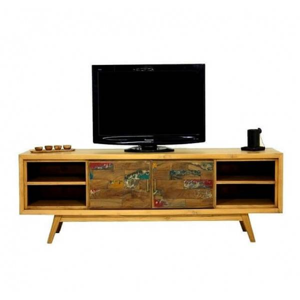 MATHI DESIGN WOOD - Meuble TV Scandinave 180 cm Marron