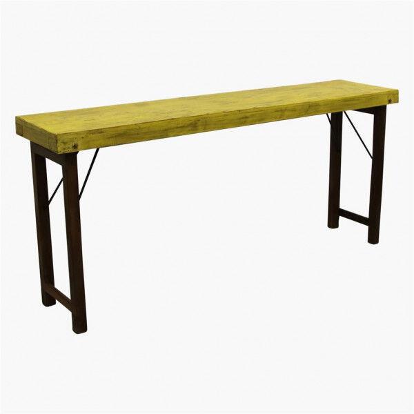 MATHI DESIGN VINTAGE - Console ancienne en bois jaune Jaune