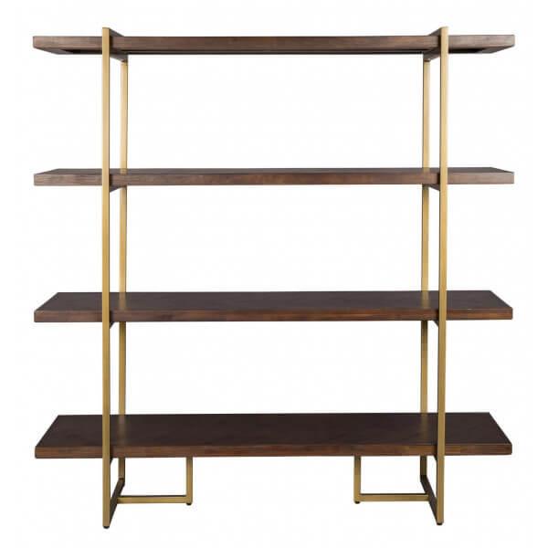 Dutchbone CLASS - Bibliothèque en bois et laiton Marron