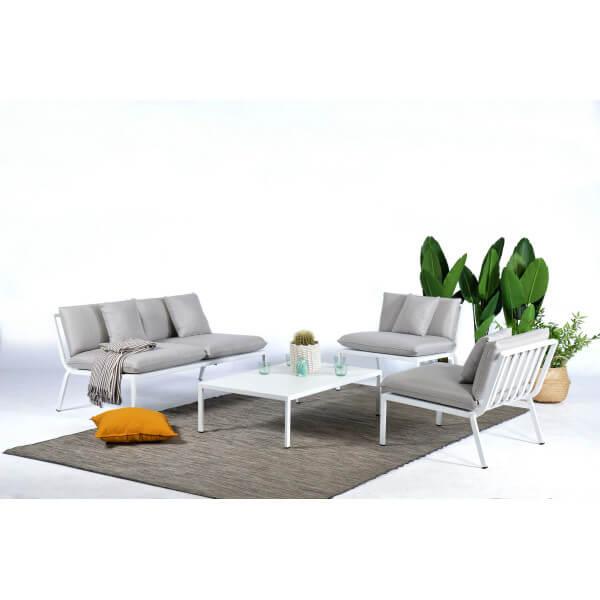 MATHI DESIGN Salon de Jardin Sunrise blanc Blanc