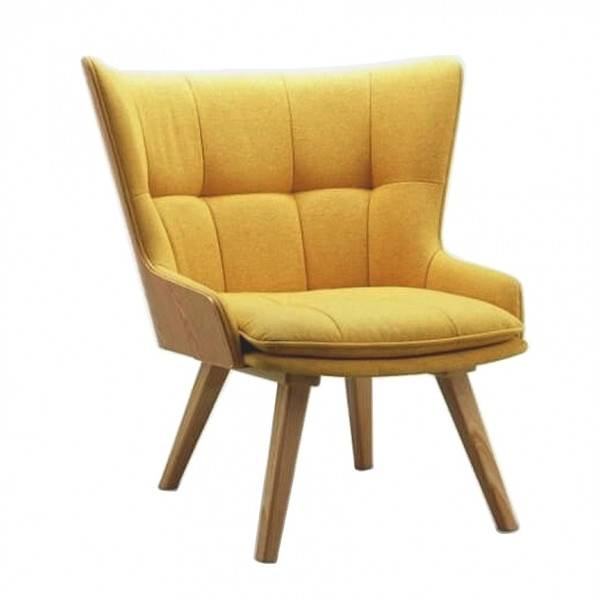 MATHI DESIGN KOTKA - Fauteuil scandinave en tissu jaune et bois Jaune