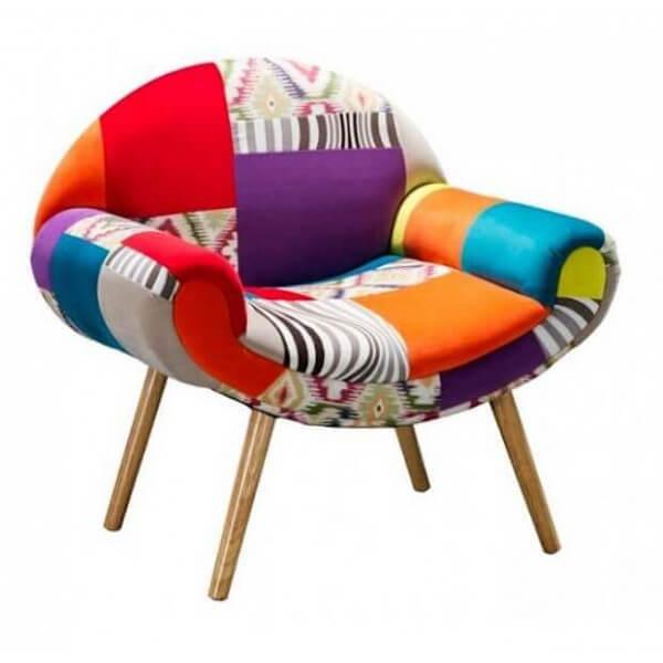 MATHI DESIGN Fauteuil Patchwork colore Hippie Chic Multicolore