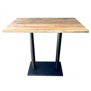 MATHI DESIGN OLDWOOD - Table haute avec plateau effet bois vieilli Marron clair - Publicité