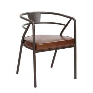 MATHI DESIGN BRASSERIE - Chaise confort aspect cuir marron Marron - Publicité