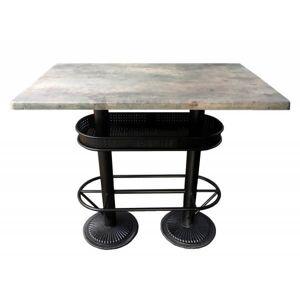 MATHI DESIGN OAKLAND - Table bistrot/industriel plateau effet beton gris Gris - Publicité