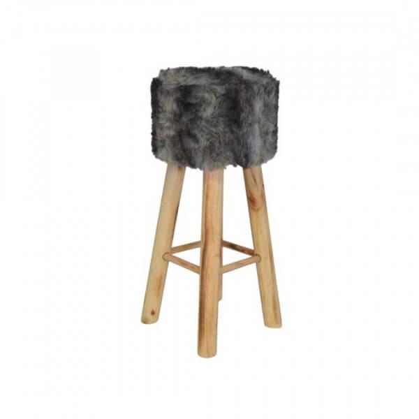 MATHI DESIGN YETI - Tabouret de bar en bois gris Gris