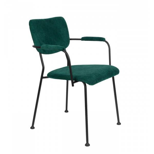 Zuiver BENSON - Chaise accoudoirs velours vert Vert