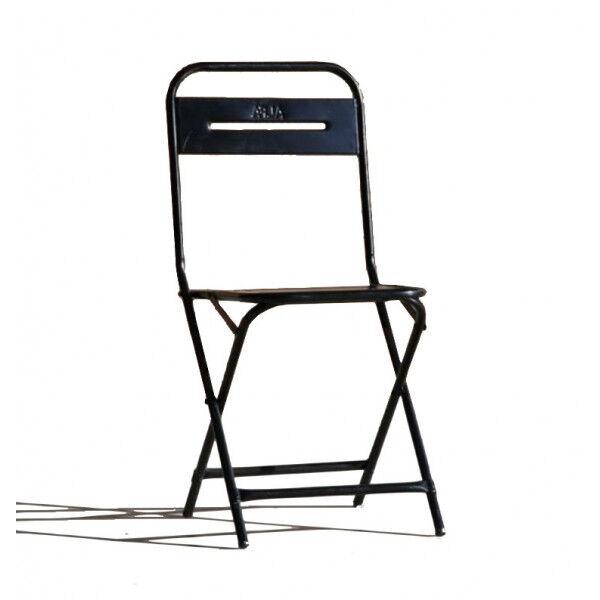 MATHI DESIGN STEEL - Chaise pliante en métal noir Noir