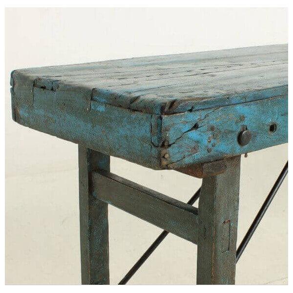 MATHI DESIGN VINTAGE - Console ancienne en bois bleu Bleu
