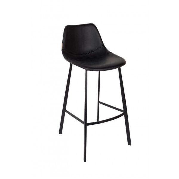 Dutchbone FRANKY 65 - Chaise de comptoir aspect cuir noir Noir
