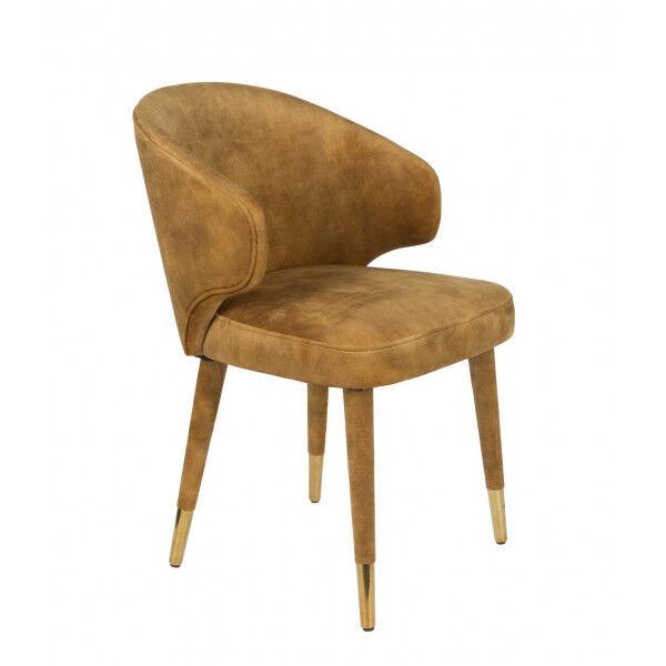 Dutchbone LUNAR - Chaise design de repas en velours ocre Marron