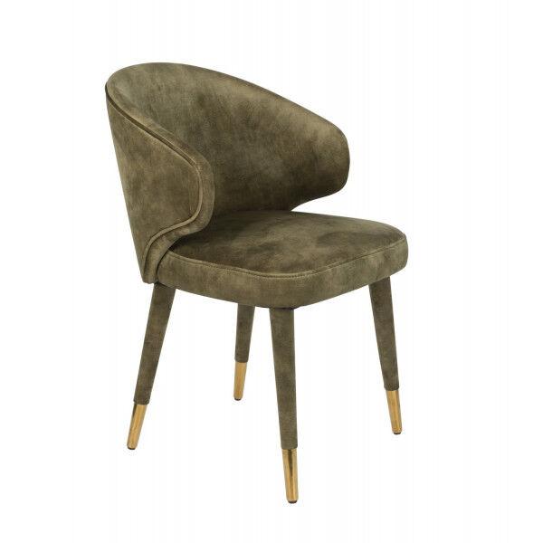 Dutchbone LUNAR - Chaise design de repas en velours vert kaki Ocre