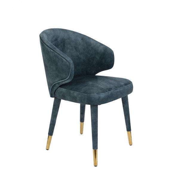 Dutchbone LUNAR - Chaise design de repas en velours bleu Bleu