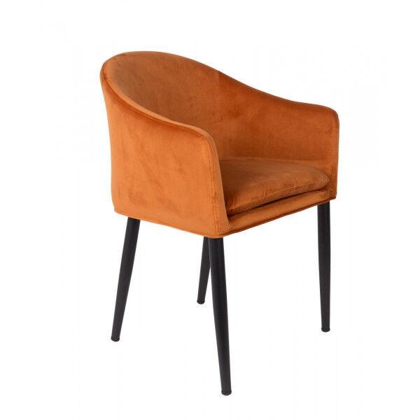 MATHI DESIGN COSY - Chaise design de repas en velours orange Orange