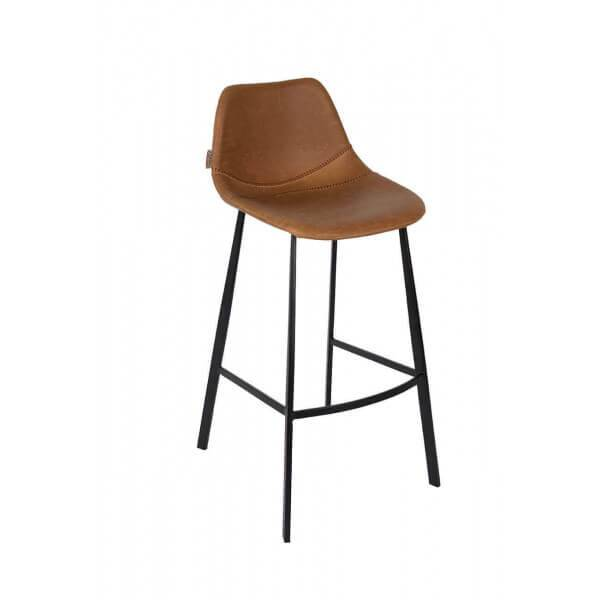 Dutchbone FRANKY 65 - Chaise de comptoir aspect cuir marron Marron