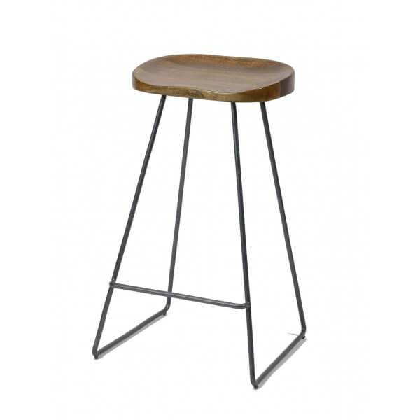 MATHI DESIGN WOOD - Tabouret de bar minimaliste en bois et acier Marron