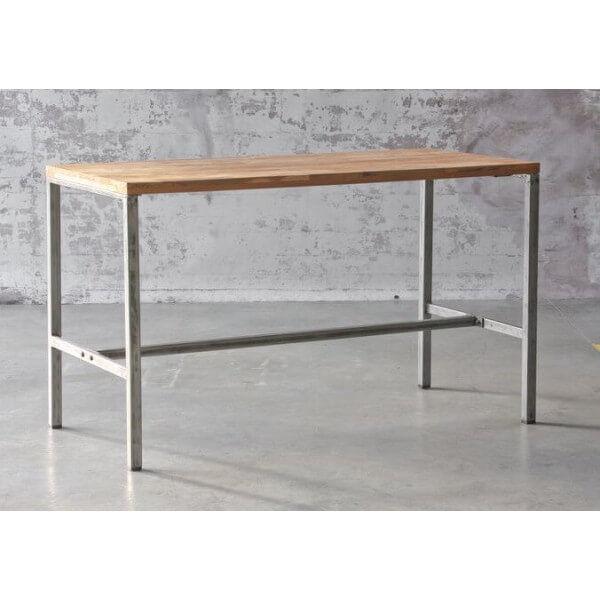 MATHI DESIGN ATELIER - Table haute 160 cm acier et Teck recyclé Marron