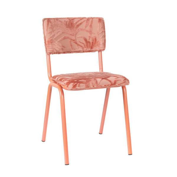 Zuiver BACK TO MIAMI - Chaise design de repas brodée velours rose Rose