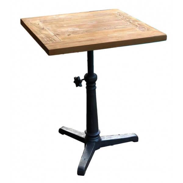 MATHI DESIGN BISTROT 70 - Table hauteur réglable bois massif Marron
