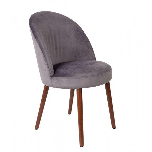 Dutchbone BARBARA - Chaise de salle a manger en velours gris Gris