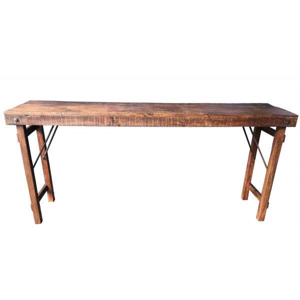 MATHI DESIGN VINTAGE - Console ancienne en bois marron L170 Marron