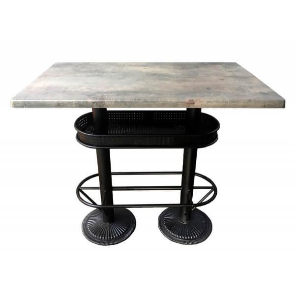MATHI DESIGN OAKLAND - Table bistrot/industriel plateau effet beton gris Gris