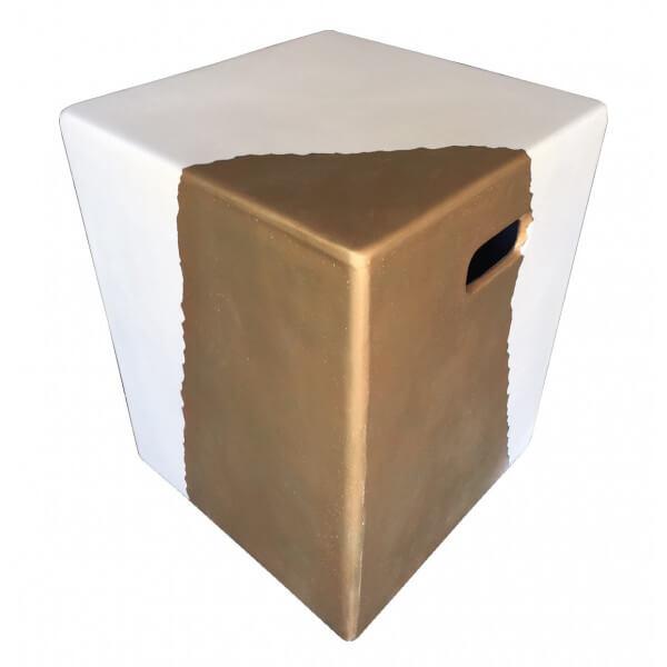 MATHI DESIGN CUBE OR - Bout de canapé béton blanc et or Blanc