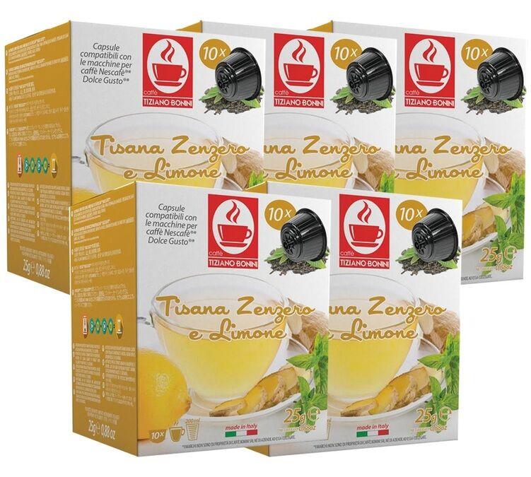 Caffè Bonini Pack Capsules Nescafe® Dolce Gusto® compatibles Tisane au citron et gingembre x50