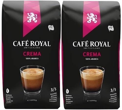 Café Royal Café en grains Crema 100% Arabica - 2x1kg - Café Royal