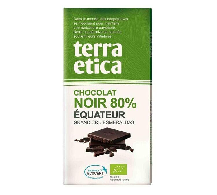 Terra Etica Tablette chocolat Noir 80% Equateur 100g - Café Michel