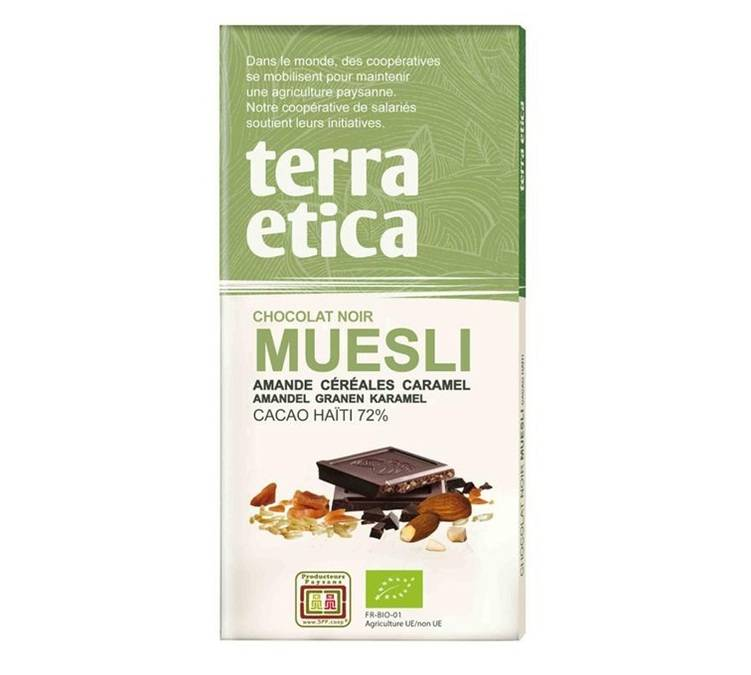 Terra Etica Tablette chocolat Noir 72% Muesli 100g - Café Michel